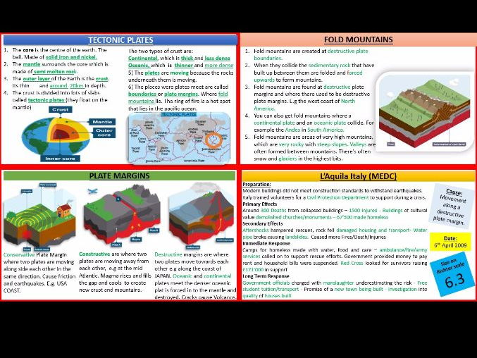 Natural Hazards, tectonic, weather, Revision Task Cards   (Living with the Physical Environment) 9-1