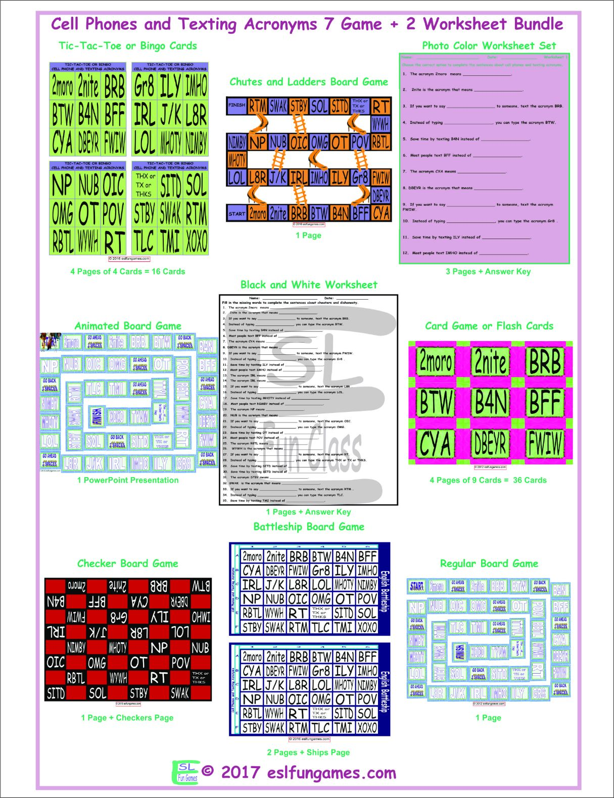 Cell Phones and Texting Acronyms 7 Game Plus 2 Worksheet Bundle