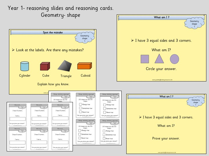 reasoning slides and cards geometry year 1 by gsprimaryeducation