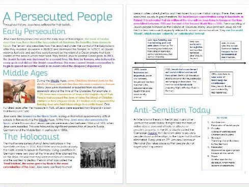 Judaism: Persecution and the Holocaust: Information and Task Sheets