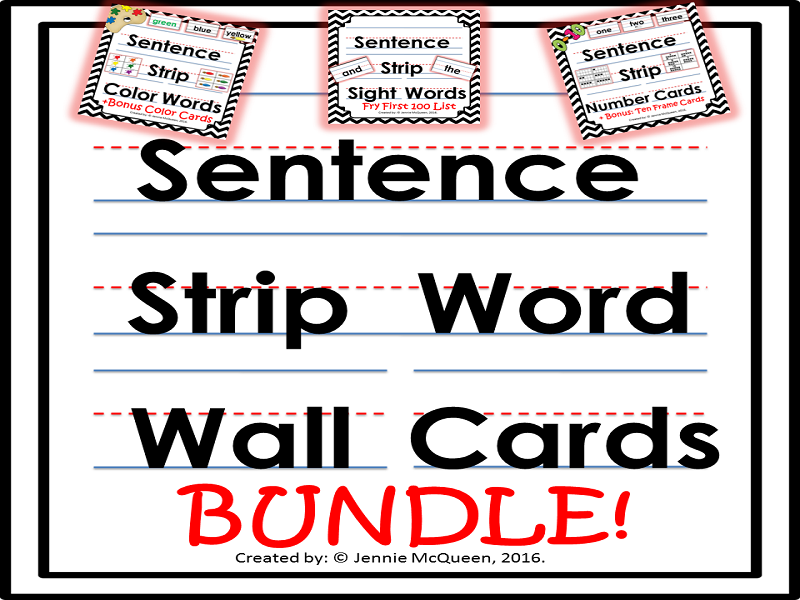 Sentence Strip Word Cards: Bundle 100+ Words