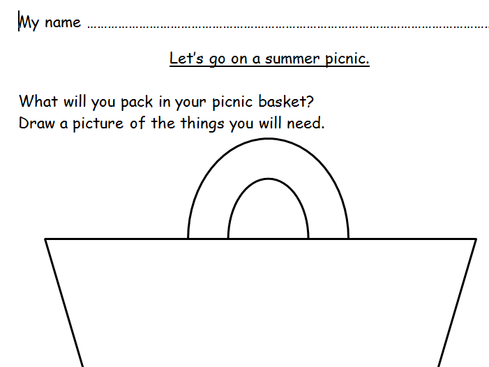 EYFS/KS1 summer picnic activity sheet.