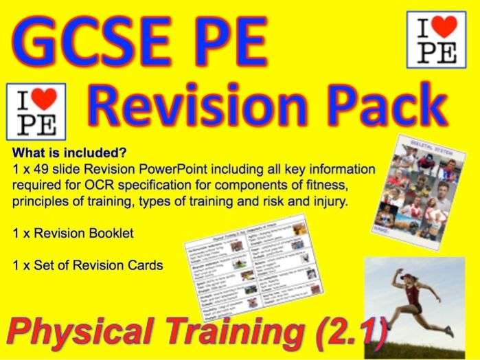 GCSE PE Components of Fitness, Principles of Training, Reducing Risk (1.2) Revision Pack