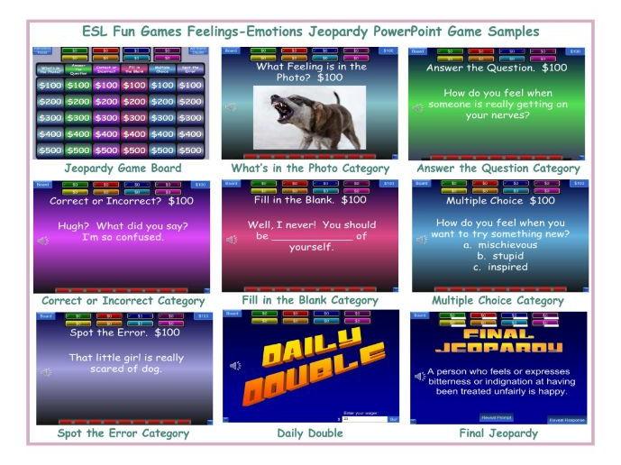 Feelings-Emotions Jeopardy PowerPoint Game