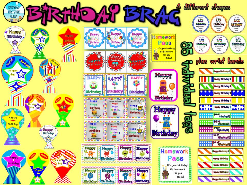 Birthday Brag Tags- 85 tags