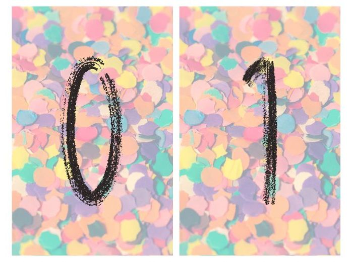 Confetti number cards