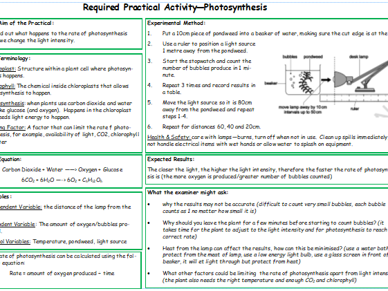 Photosynthesis Required Practical Knowledge Organiser
