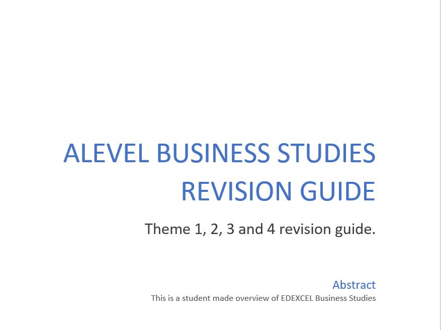 EDEXCEL A Level Business Studies Revsion
