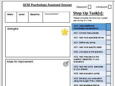 GCSE Psychology 9-1 AQA - Essay Feedback Form and Assessment Feedback Form