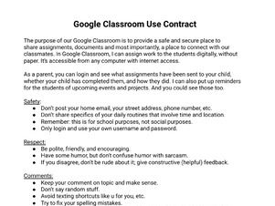 Google Classroom Use Contract