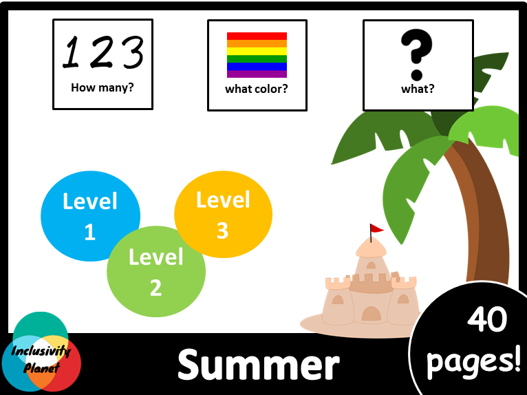 Summer HOW MANY,WHAT COLOR, WHAT? level 1, level 2 and level 3 books American Version