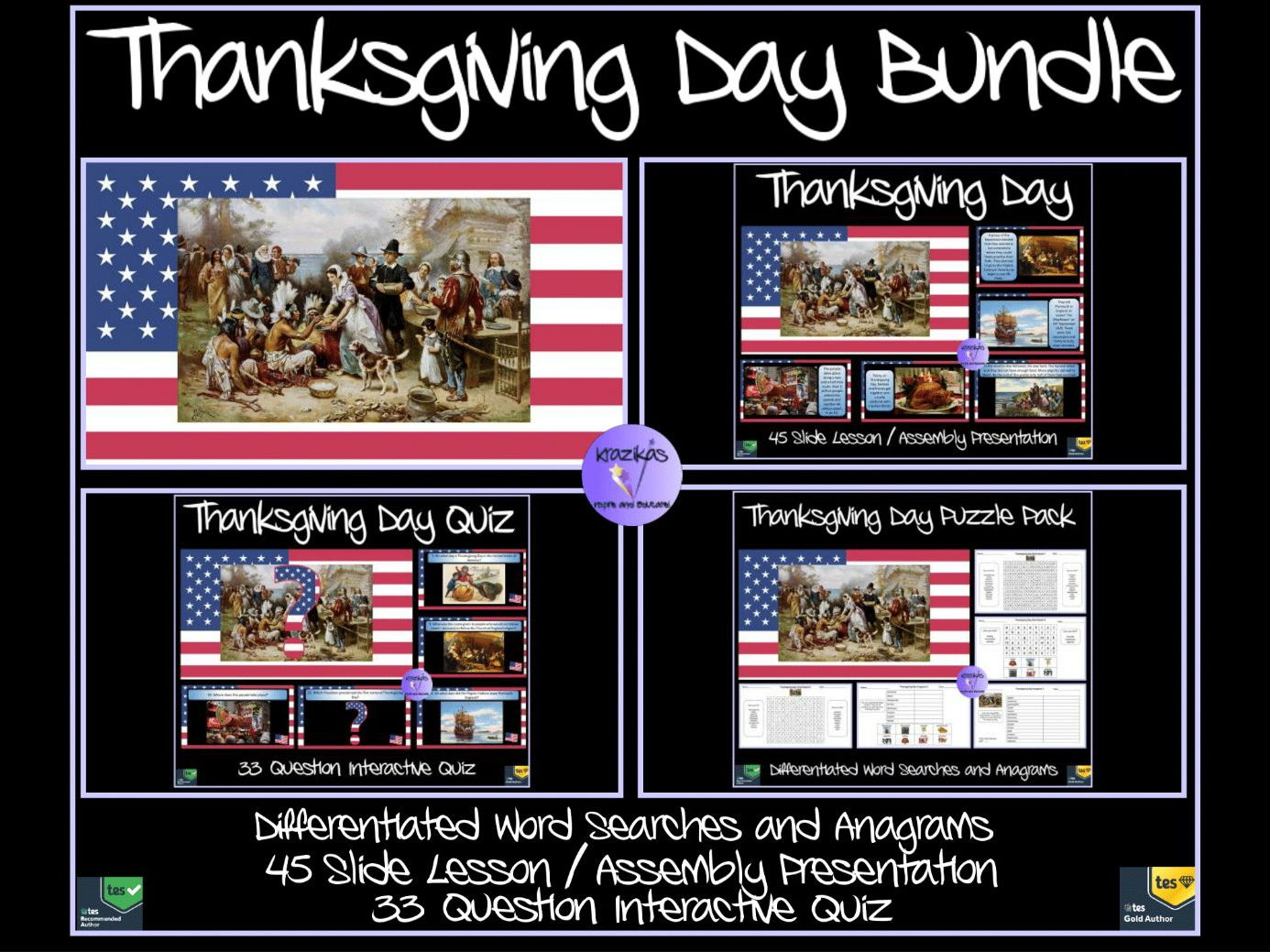 Thanksgiving Day Bundle - Presentation, Quiz, Puzzle Pack