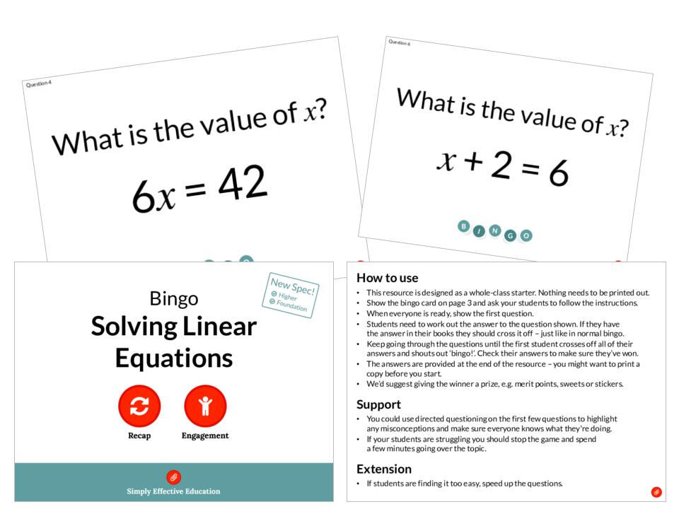 Solving Linear Equations (Bingo)