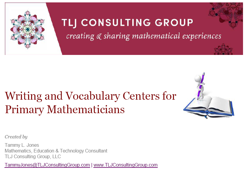 Writing and Vocabulary Centers for Primary Mathematicians Packet