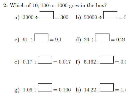 Dividing whole numbers and decimals by 10, 100 and 1000 worksheet (with answers)