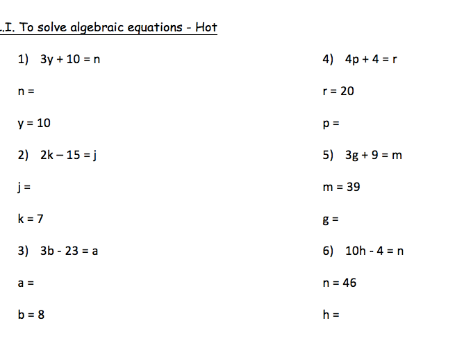 Algebraic equations worksheets year 6