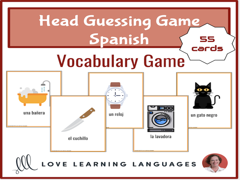 Spanish forehead guessing vocabulary game