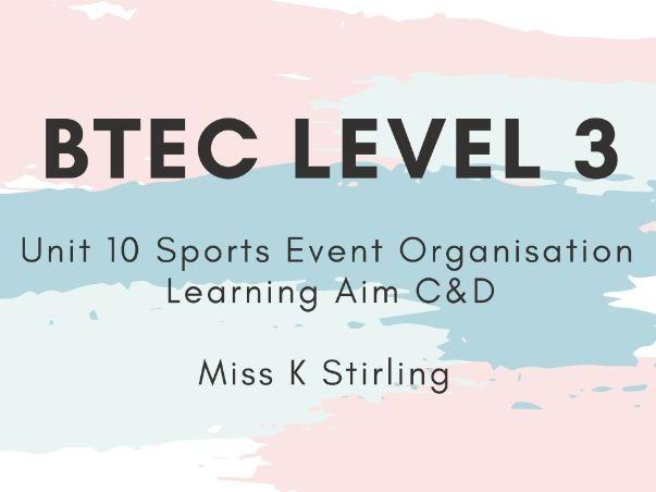 BTEC Level 3 Unit 10 Sports Event Organisation