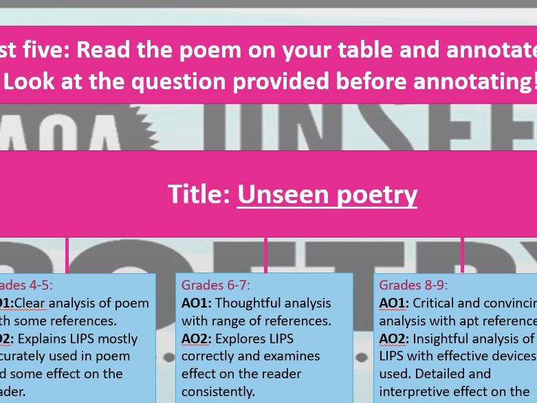 AQA Unseen Poetry focused on the way we view the world - high ability