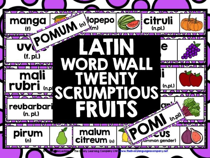PRIMARY LATIN FRUITS DISPLAY WORD WALL