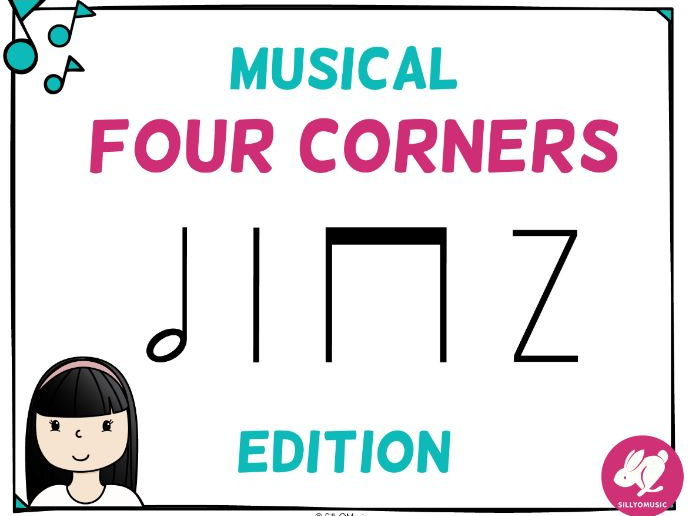 Musical Four Corners, Half Note Rhythm Game (Stick Notation)