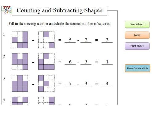 Counting and Subtracting Shapes with Higher Order Thinking (Software)