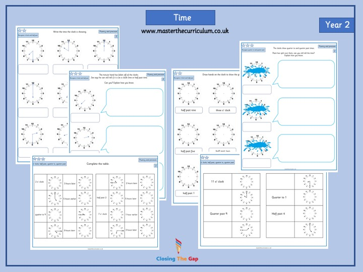 Year 2- Differentiated time worksheets