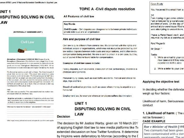 BTEC LEVEL 3 APPLIED LAW : UNIT 1 DISPUTING SOLVING IN CIVIL LAW : COMPLETE UNIT WORKBOOK