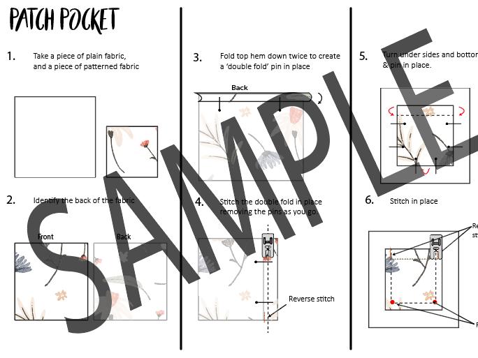 Sewing Visuals - Patch Pocket, Tab sample & Sugar bag corner