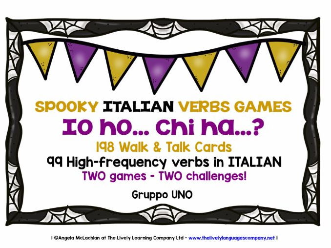 ITALIAN VERBS (1) - HALLOWEEN I HAVE, WHO HAS? 2 GAMES, 2 CHALLENGES!