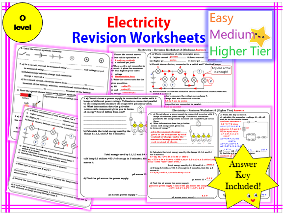 Electricity Revision Worksheet -O level