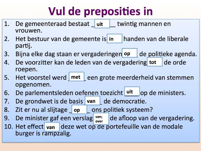 Intermediate Dutch - Political Institutions - Suitable for B2 learners.