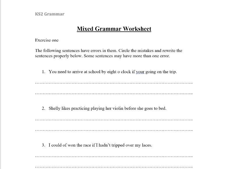 KS2 Mixed Grammar Worksheet