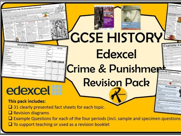 GCSE History Edexcel Crime & Punishment Revision Pack Home Learning