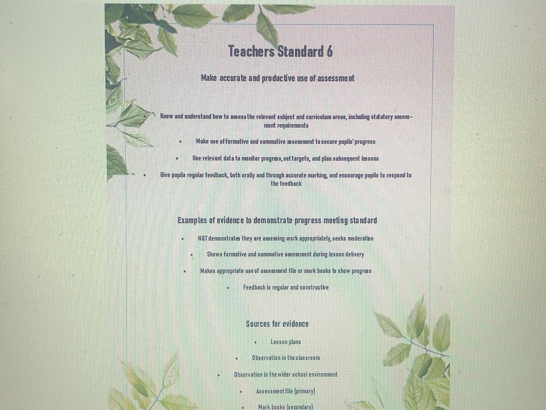 Teachers Standards file divider covers