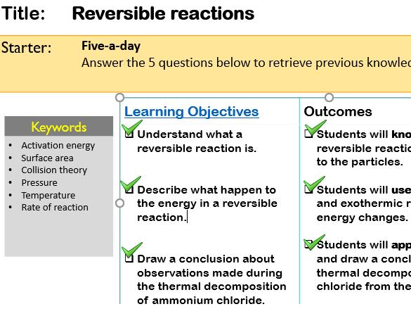 KS4 GCSE Reversible reactions Ammonium chloride