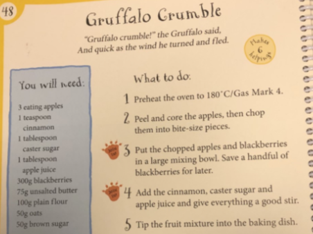 Gruffalo Crumble Instruction Writing-BOSSY WORDS (Home Learning)