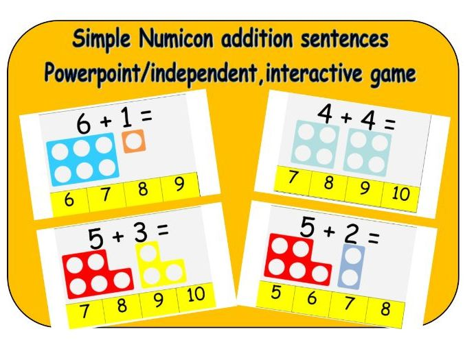 Simple addition sentences with Numicon Powerpoint - Children's independent activity