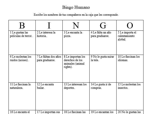 b i n g o humano verbos como gustar human bingo verbs like gustar by alysonolte. Black Bedroom Furniture Sets. Home Design Ideas
