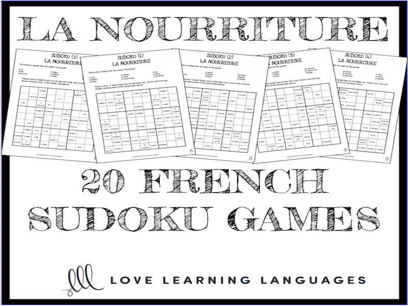 La nourriture - 20 no prep printable French sudoku games