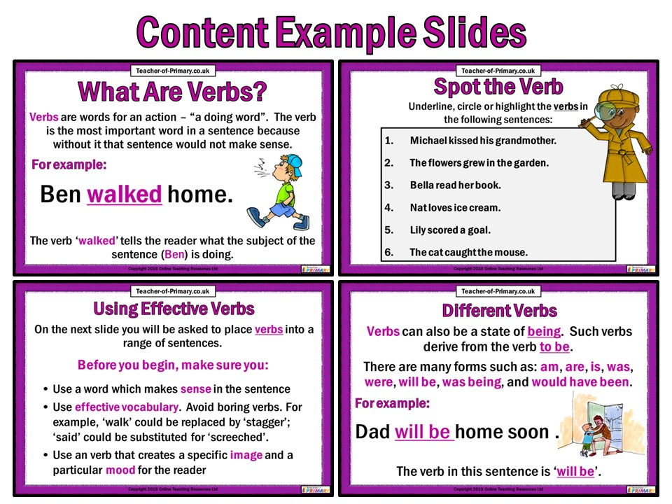 Verbs - PowerPoint Teaching Resource and Worksheets