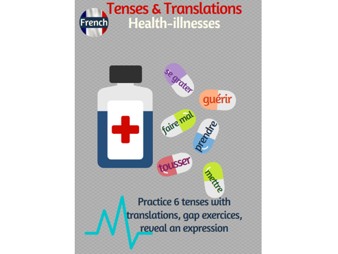 Tenses and Translations practice in French with the topic of health and illnesses