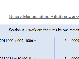 Binary Addition worksheet