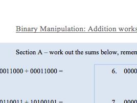 Binary Addition worksheet
