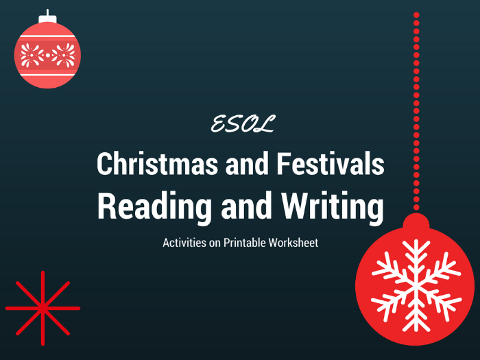 Christmas Present, Past and Future Reading and Writing Activities for ESOL Learners