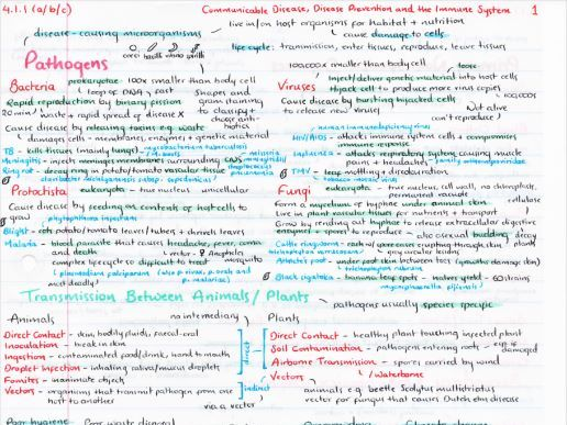OCR A Level Biology Communicable Disease Revision Poster