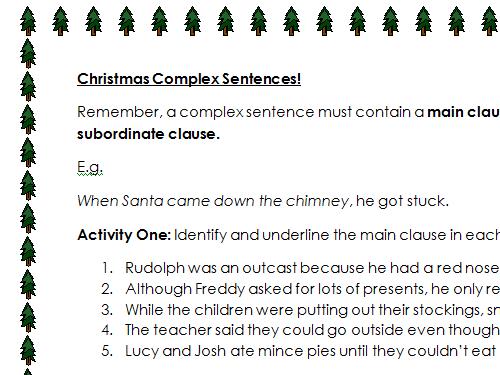Christmas Complex Sentences