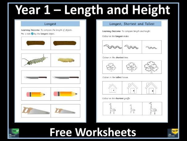 Length and Height Worksheets - Year 1