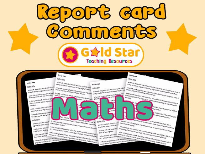 Report Card Comments - Maths