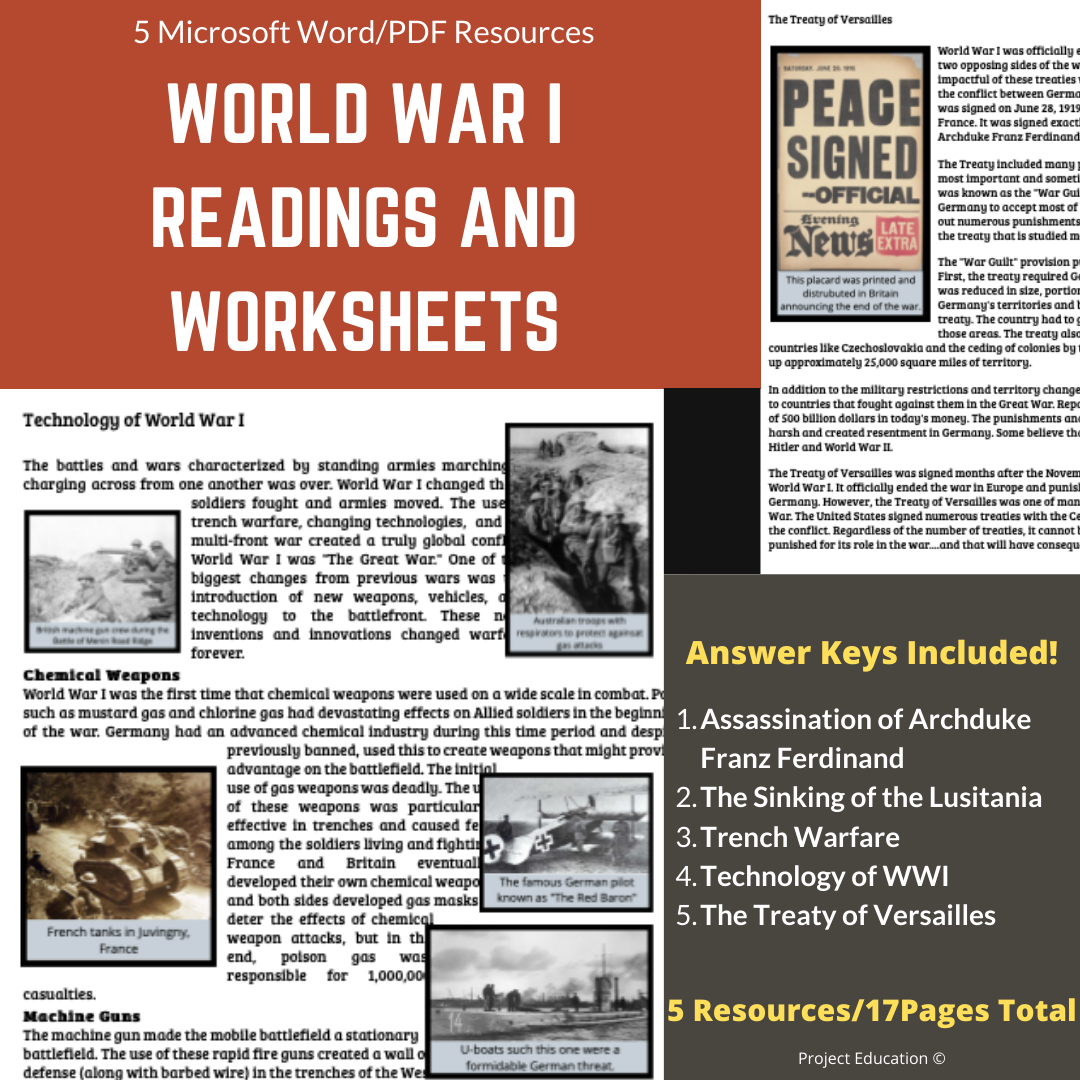 World War I Readings and Worksheets